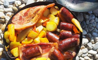 Marinated Pork Neck with Sausage and Vegetables